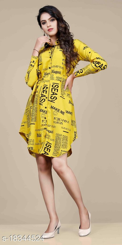 Women's Shirt Paper Print (Yellow)