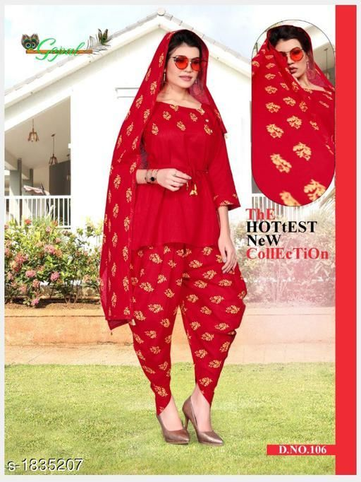 Kurta Sets Pretty Cotton Self Print Women's Kurti Set  *Fabric* Kurti - Cotton , Dhoti -Cotton , Dupatta - Cotton  *Sleeves* 3/4 Sleeves Are Included  *Size* Kurti - XL - 42 in, Dhoti - Up To 46 in (Free Size), Dupatta - 2.50 Mtr  *Length* Kurti - Up To 29 in, Dhoti  - Up To 40 in  *Type* Stitched  *Description* It Has 1 Piece Of Kurti, 1 Piece Of Dhoti  & 1 Piece Of Dupaata  *Work * Kurti - Printed, Dhoti  - Printed,  Dupatta - Printed  *Sizes Available* XL   Supplier Rating: ★3.4 (34) SKU: 106 Free shipping is available for this item. Pkt. Weight Range: 500  Catalog Name: Tiya Pretty Cotton Self Print Women's Kurti Sets Vol 1 - Star hobby Code: 079-1835207--