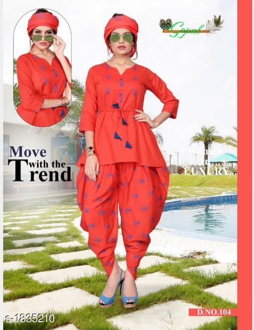 Kurta Sets Pretty Cotton Self Print Women's Kurti Set  *Fabric* Kurti - Cotton , Dhoti -Cotton , Dupatta - Cotton  *Sleeves* 3/4 Sleeves Are Included  *Size* Kurti - XL - 42 in, Dhoti - Up To 46 in (Free Size), Dupatta - 2.50 Mtr  *Length* Kurti - Up To 29 in, Dhoti  - Up To 40 in  *Type* Stitched  *Description* It Has 1 Piece Of Kurti, 1 Piece Of Dhoti  & 1 Piece Of Dupaata  *Work * Kurti - Printed, Dhoti  - Printed,  Dupatta - Printed  *Sizes Available* XL   Supplier Rating: ★3.5 (44) SKU: 104 Free shipping is available for this item. Pkt. Weight Range: 500  Catalog Name: Tiya Pretty Cotton Self Print Women's Kurti Sets Vol 1 - Star hobby Code: 079-1835210--