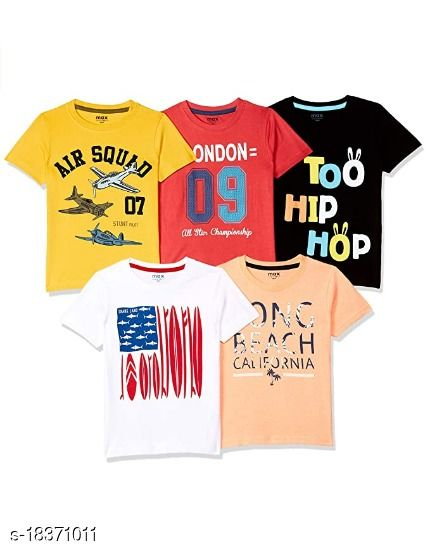 Boys Printed Cotton Jersey T Shirt  (Multicolor, Pack of 4)