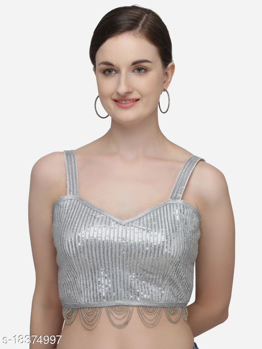 Fab Dadu Women's Sequines Silver Phantom Silk Blouse With V Neck  (BL-20065-Silver)_Free_Size