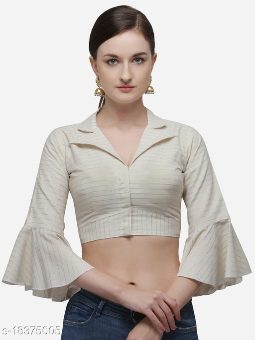 Fab Dadu Women's Printed Off_White Phantom Silk Blouse With Collared Neck  (BL-20058-Off_White)_Free_Size
