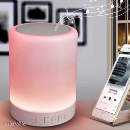 Brands Bucket Touch Controlled Color LED Night Light with Bluetooth Speaker. Multipurpose Portable Wireless Bluetooth Speaker/Bedside Table Lamp/Speakerphone - Smoke White Color