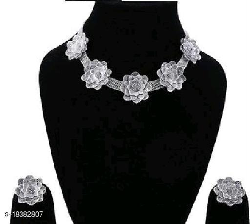 Samridhi Style Silver Rose Style Jewellery Set