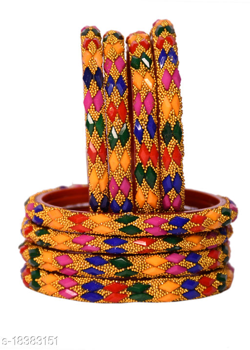 Glass Bangles/Kungan/Kada Set for Wedding, Festival, Workplace, Party, Traditional, Ornamented with Stone,Multi Colour