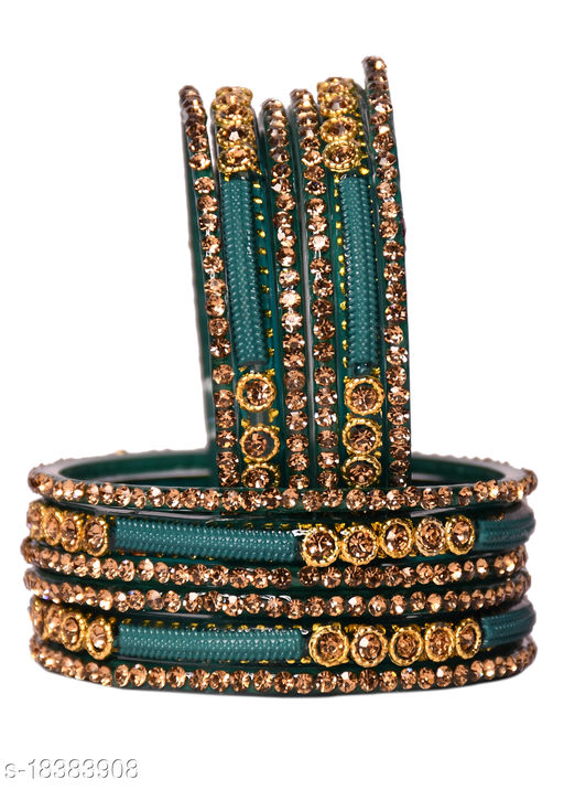Glass Bangles for Women Combo Set Traditional Wedding, Festival, Workplace, Party,Designer, Ornamented with Stone Glass Bangle Set Combo of 4 Kada & 8 Churi