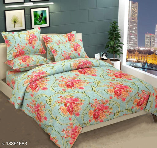 Anticca home polycotton double bed sheet pack of 2 pc double bed sheet and 4 pc pillow cover