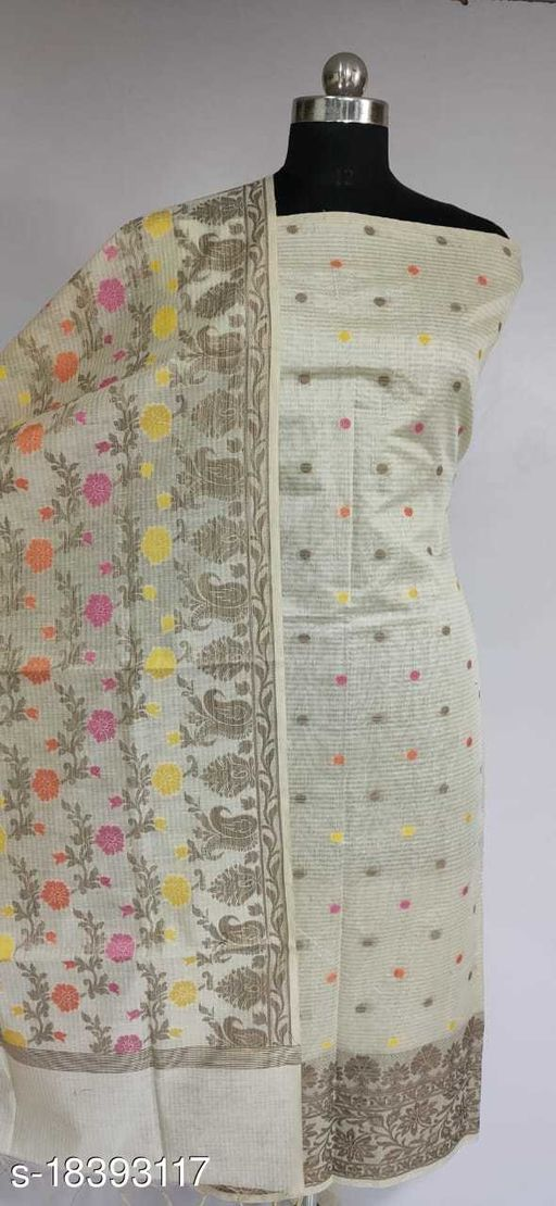 Fabulous Party Wear Banarsi Cotton Suit And Dress Material (43White)