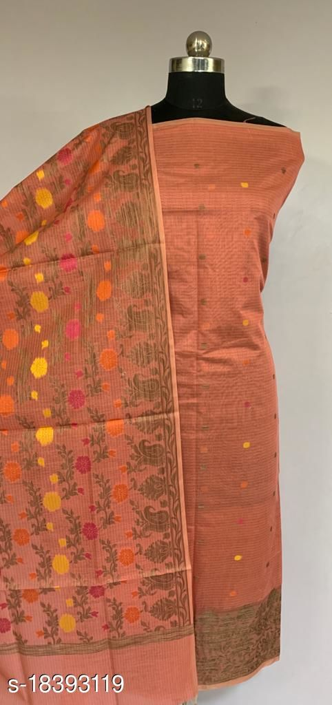 Fabulous Party Wear Banarsi Cotton Suit And Dress Material (43Peach)