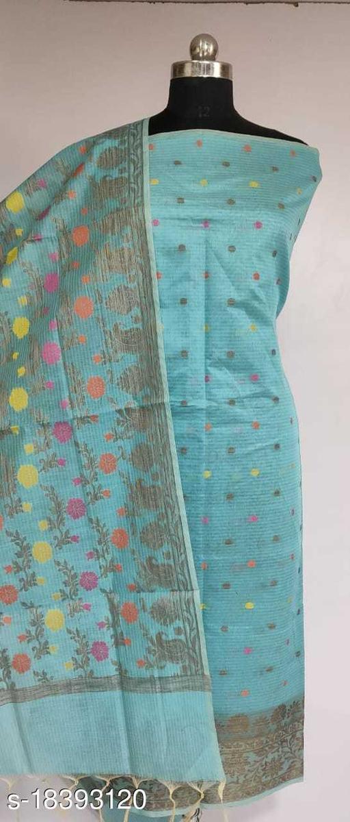 Fabulous Party Wear Banarsi Cotton Suit And Dress Material (43Aqua Blue)