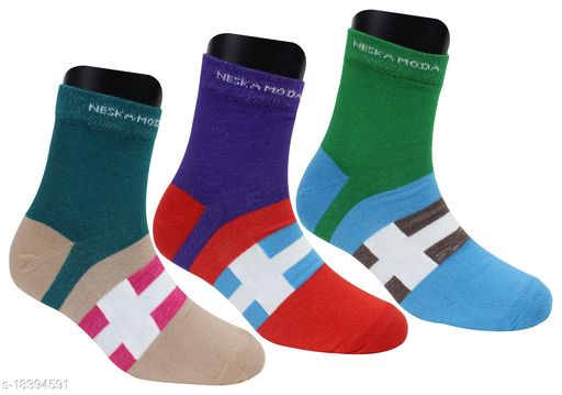Neska Moda Women 3 Pair Printed Ankle Length Socks-(Red,Blue,Green,Brown)