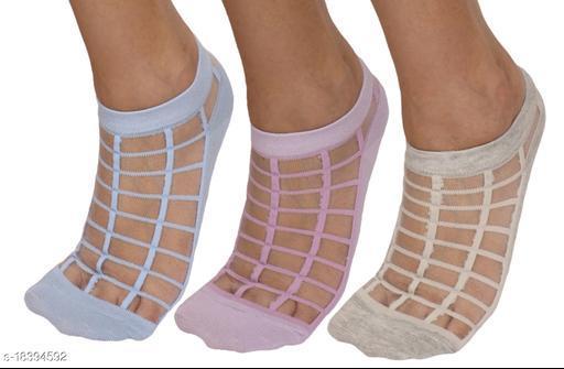 Neska Moda Women 3 Pairs Cotton Ankle Length Socks-Blue,Purple,Grey-S819