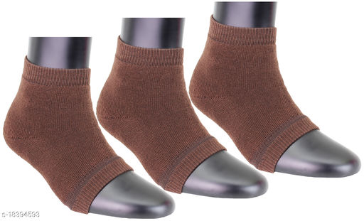 Top N Toe Women 3 Pair Brown Cotton Moisturising Ankle Length Socks-S1039