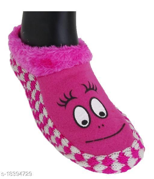 Neska Moda Women Indoor Pink Cotton & Fur Booties - 8 UK