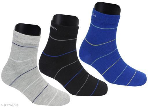 Neska Moda Women 3 Pair Striped Ankle Length Socks-(Blue,Black,Grey)