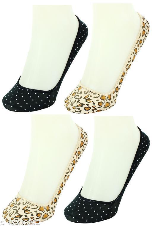 Neska Moda Women 4 Pair Brown And Black No Show Belly Socks -S1244