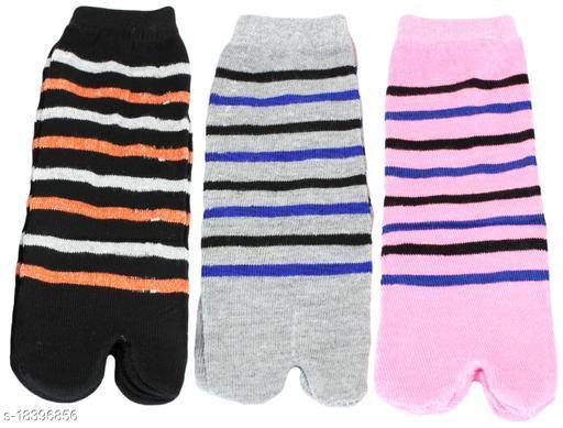 Neska Moda Women 3 Pair Cotton Multicolor Ankle Length Thumb Socks-S1142