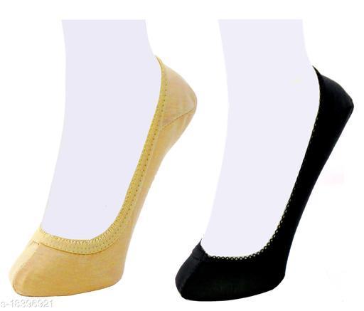 Neska Moda Women Plain Cotton Black and Beige 2 Pair Belly Low Cut Socks