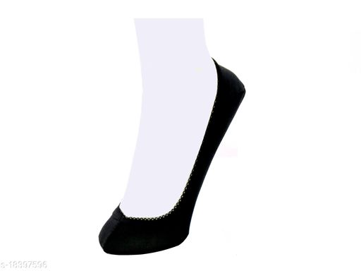 Neska Moda Women Plain Cotton Black 1 Pair Belly Low Cut Socks