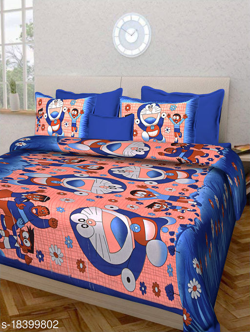 Jaipuri Double Bedsheet 100% Cotton with Doremon Print and 2 Pillow Covers (Blue)