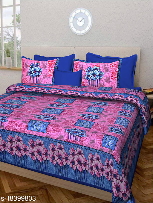 Jaipuri Double Bedsheet 100% Cotton with Jaipuri Print and 2 Pillow Covers (Pink)