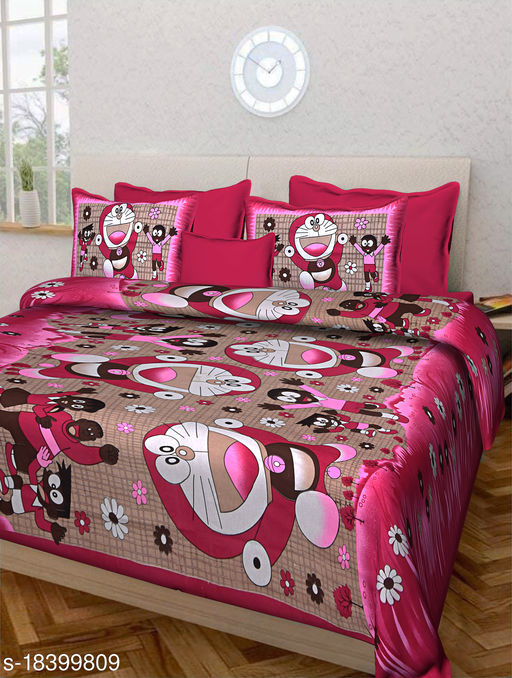 Jaipuri Double Bedsheet 100% Cotton with Doremon Print and 2 Pillow Covers (Pink)