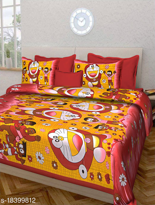 Jaipuri Double Bedsheet 100% Cotton with Doremon Print and 2 Pillow Covers (Red)