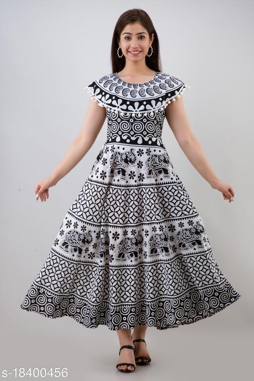 Women's Black Cotton Gown