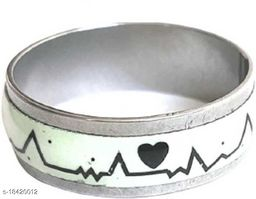 Valentine Jewellery Mens Women Luminous ECG Heart Beat Ring Stainless Steel Electrocardiogram Ring Romantic Jewelry for Lovers Glow In The Dark Rings Stainless Steel, Tungsten Cubic Zirconia Titanium, Platinum, Silver Plated Ring