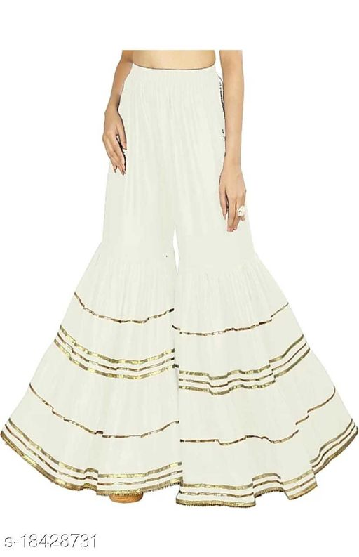 Emmy Word Fashionable Women White Sharara /Garara /Trousers