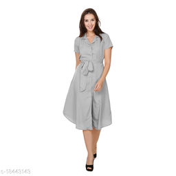 Chrome & Coral Front Button Shirt Midi Dress with Belt