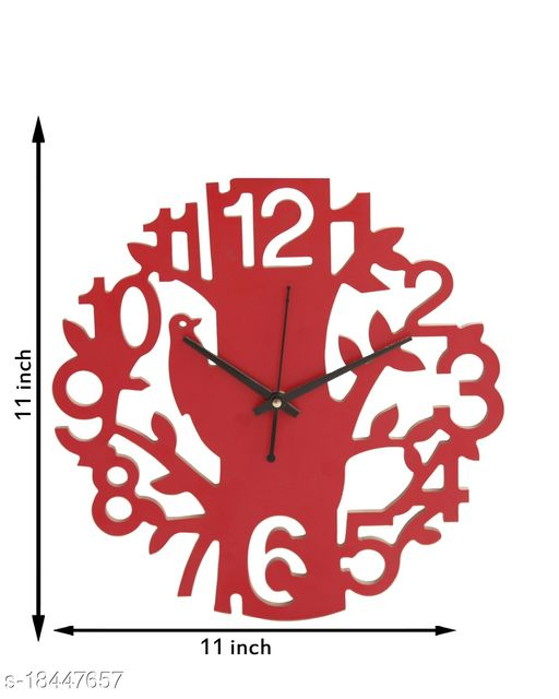 Wooden Wall Clock for Living Room/Bed Room/Study Room/Kitchen/Office (SPARROW RED ( 176 )