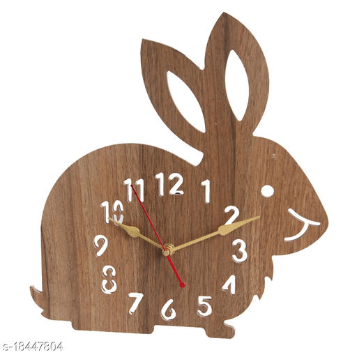 Wooden Wall Clock for Living Room/Bed Room/Study Room/Kitchen/Office (RABBIT BROWN)