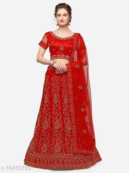 Women'S Red Semi Stiched Embroidered Net Lehenga Choli