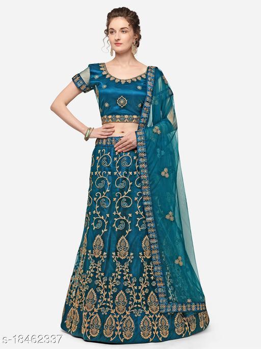 Women'S Jarman Blue Semi Stiched Embroidered Net Lehenga Choli