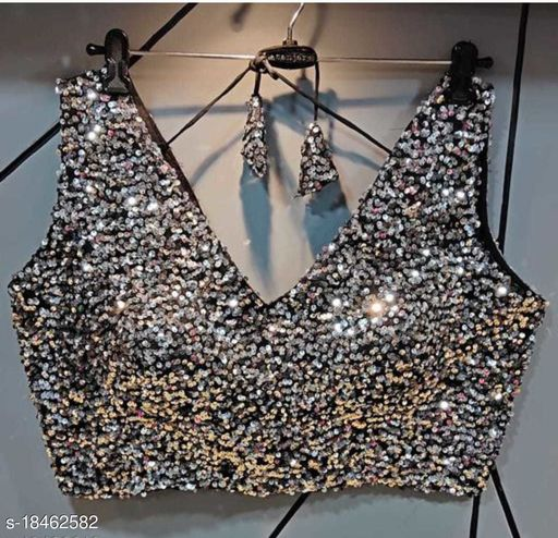 velvet blouse sequins work