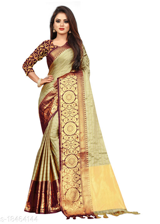 Checkered woven Pattern Cotton silk 5.5 mtr saree with unstitched 0.8 mtr blouse