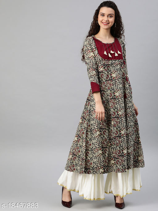 Yash Gallery Women's Cotton Kalamkari Print Anarkali Kurta