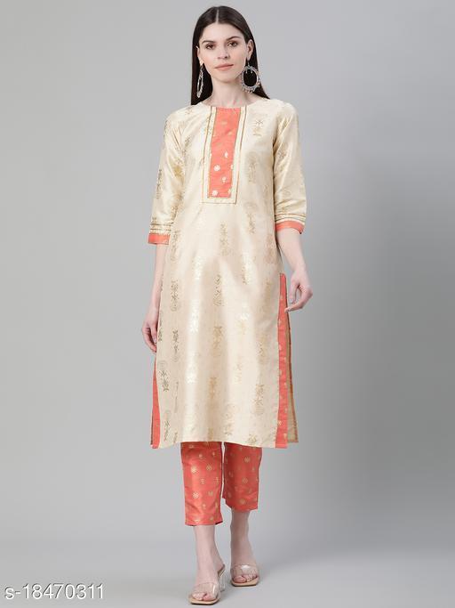 Ziyaa Women's Cream Color Foil Print Straight Kurta