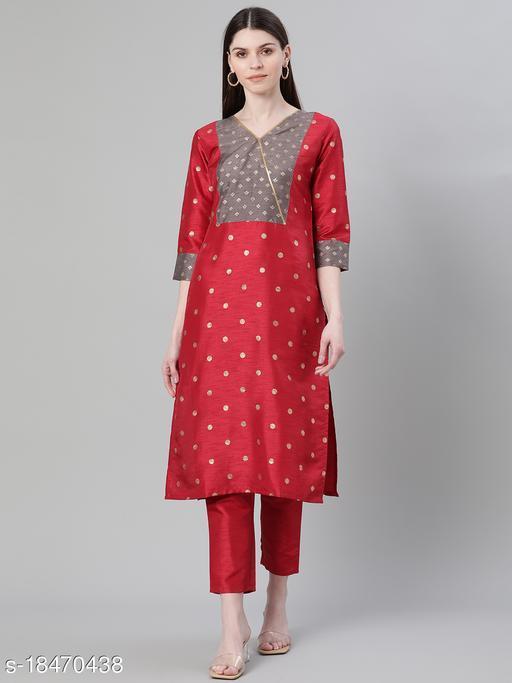Ziyaa Women's Red Color Foil Print Straight Kurta