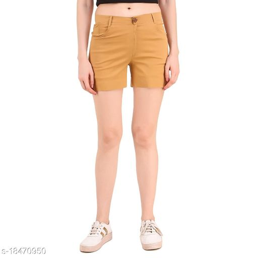 Rajkanya Cotton Shorts with Belt for Girls and Women Latte L