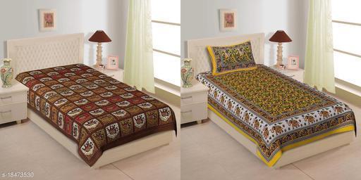 Jaipuri Traditional Single Bedsheet combo of 2 Pcs