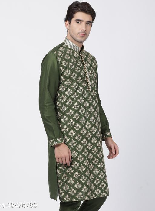 Vastramay Men's Green Cotton Blend Kurta