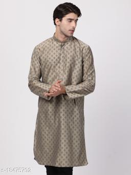 Vastramay Men's Beige Cotton Blend Kurta