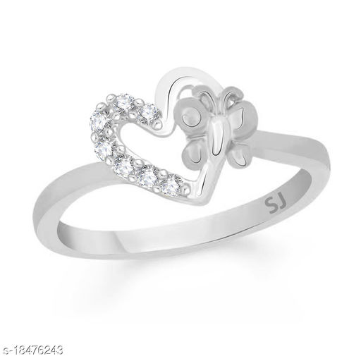Vighnes Fashion Jewellery Butterfly Heart Rhodium Plated  Ring For Women and Girls
