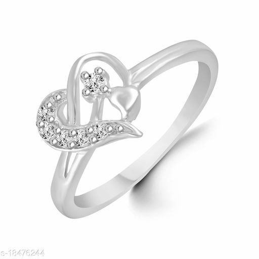 Vighnes Fashion Jewellery Heart Rhodium Plated  Ring For Women and Girls