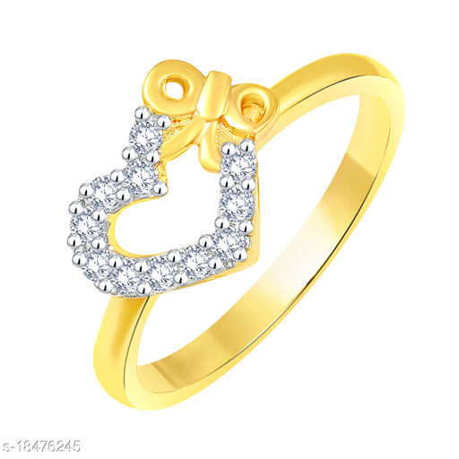 Vighnes Fashion Jewellery Butterfly Heart Gold Plated Ring For Women and Girls