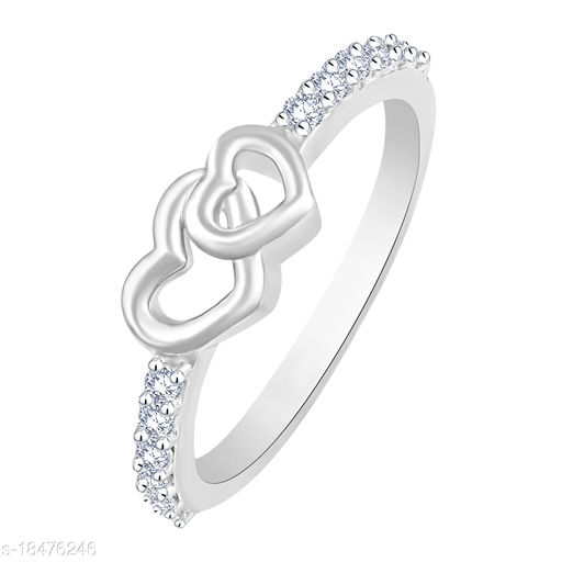 Vighnes Fashion Jewellery Double Heart Rhodium Plated  For Women and Girls