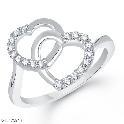 Vighnes Fashion Jewellery Double Heart Gold Plated Ring For Women and Girls