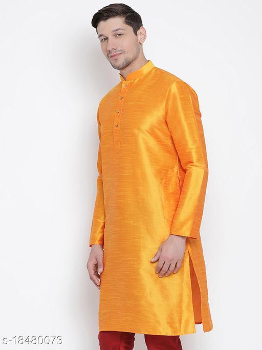 Vastramay Men's Orange Silk Blend Kurta